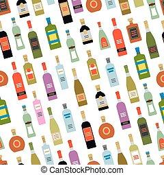 seamless, modello, con, alcool, bottiglie
