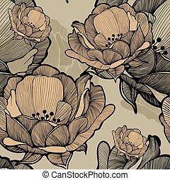 seamless, modello, con, astratto, azzurramento, fiori,...