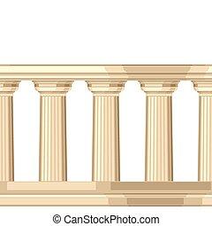 seamless, modello, con, dorico, anticaglia, greco, colonnato