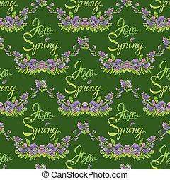seamless, modello, con, fiori, e, calligraphic, scritto mano, testo, ciao, primavera, su, verde, fondale, -, mano, disegnato, fondo.