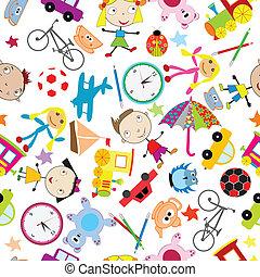 seamless, modello, con, giocattoli, fondo, per, bambini