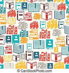 seamless, modello, con, libri, in, appartamento, disegno,...