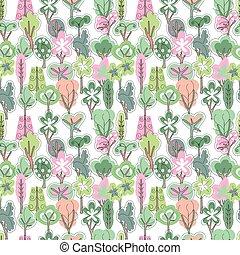 seamless, modello, con, primavera, foresta