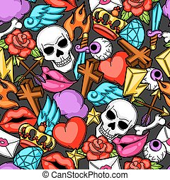 seamless, modello, con, retro, tatuaggio, symbols., cartone animato, vecchio, scuola, illustrazione