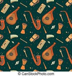 seamless, modello, di, mano, disegnato, tradizionale, slavo, ucraino, musicale, instruments.
