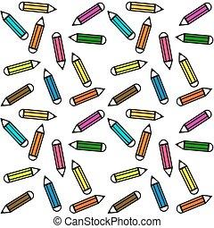 seamless, modello, fatto, di, colorito, matite, -, pastelli, bianco, fondo