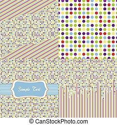 seamless, modello, puntino polka, set
