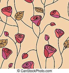 seamless, modello, rosa, rosa