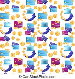 Seamless modern pattern in a banking theme with cashback. With credit cards and coins.
