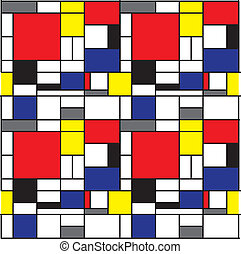 Seamless Mondrian Background - Repeating pattern inspired by...
