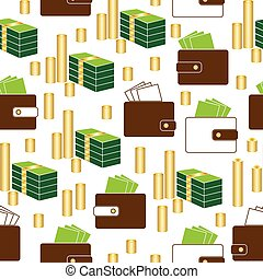 seamless money pattern on white background vector.