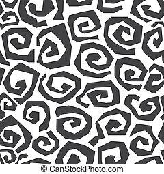 seamless, monochrom, spiralförmiges muster