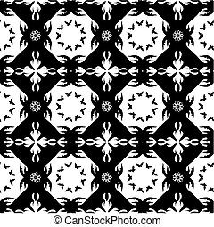 Seamless monochromatic pattern with butterflies and flowers