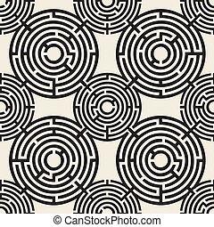 seamless monochrome abstarct circle maze pattern background