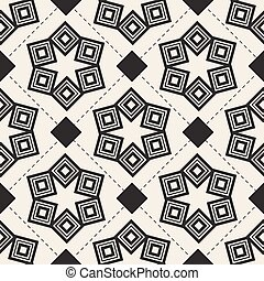 seamless monochrome abstract flower with geometric pattern background