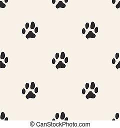 seamless monochrome animal track pattern background