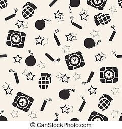 seamless monochrome bomb pattern background
