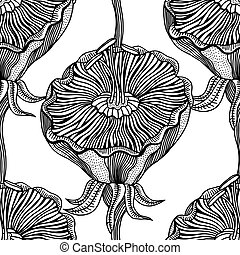 Seamless Monochrome Floral Pattern - Vector Seamless...