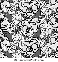 Floral Pattern - Seamless Monochrome Floral Pattern. Hand...