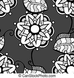 Monochrome Floral Pattern. - Seamless Monochrome Floral...