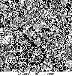 Seamless Monochrome Floral Pattern Vector . Hand Drawn...