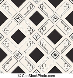seamless  monochrome furniture plan pattern background