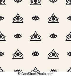 seamless monochrome hand drawn eye with triangle pattern background