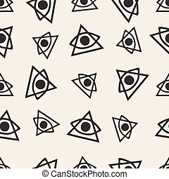 seamless monochrome hand drawn eyes with triangle pattern background