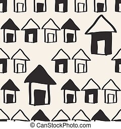 seamless monochrome hand drawn village with house ,sky and tree pattern background