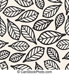 seamless monochrome leaf pattern background
