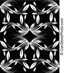 Seamless monochrome leaves wallpaper