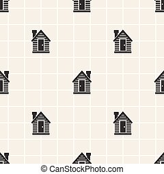 seamless monochrome little house pattern background