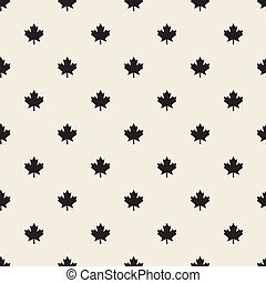 seamless monochrome maple leaves pattern background