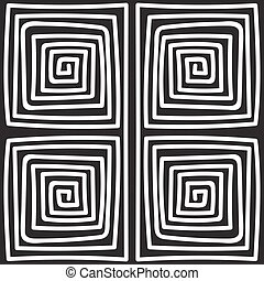 Seamless monochrome hand drawn meander pattern on black background. Design for background, paper packaging, wrapping paper. Vector illustration.