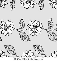 Seamless Monochrome Paper Floral Pattern with Shadow.