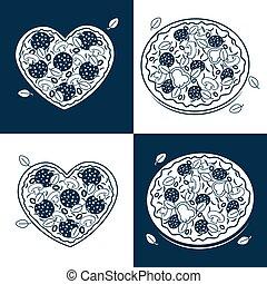 Seamless monochrome pizza pattern