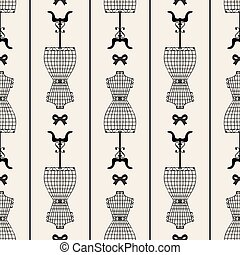seamless monochrome vintage mannequin with ribbon pattern background