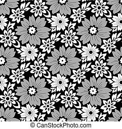seamless, monocromático, floral, fundo