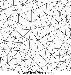 seamless, monocromo, contorno, triángulos, patrón