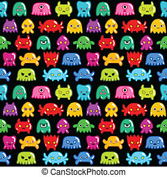 Seamless monsters pattern