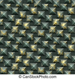 Seamless mosaic 3d pattern of scratched gold and green pyramidal blocks