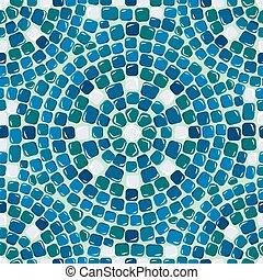 Seamless mosaic pattern - Blue ceramic tile - classical geometri