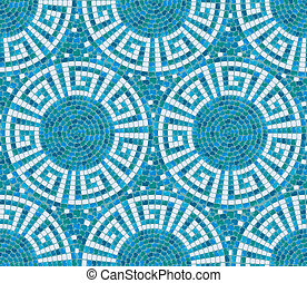 Seamless mosaic pattern - Blue ceramic tile - classic...