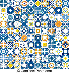 Seamless mosaic pattern made of illustrated tiles - like Portuguese tiles