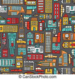 seamless, motívum, háttér, közül, karikatúra, város