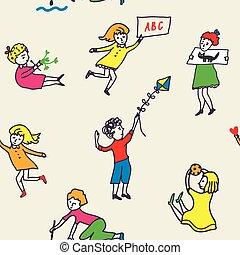 seamless, motívum, helyett, óvoda, noha, aktivál, gyerekek
