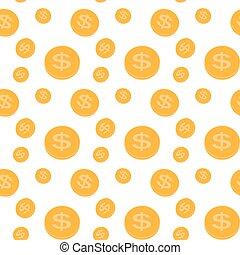seamless, motívum, közül, a, pénzdarab., vektor, illustration.