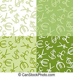 seamless, motívum, közül, pénznem jelkép