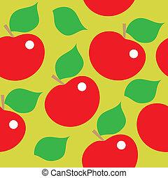 seamless, motívum, közül, piros alma