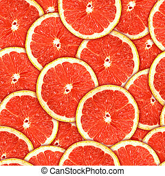 seamless, motívum, közül, piros, grapefruit, szelet